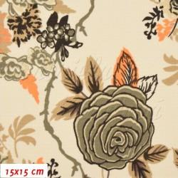 Kočárkovina MAT, Růže hnědá s oranžovými lístečky na smetanové, šíře 160 cm, 10 cm, Atest 1