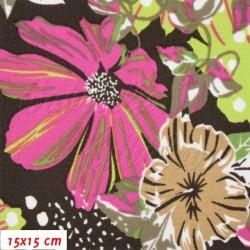 Kočárkovina MAT, Gerbery růžové žlutozelené hnědé a zelené na hnědé, šíře 160 cm, 10 cm, Atest 1