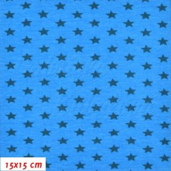 Úplet s EL - Hvězdičky 9mm petrolejové na tyrkysové, šíře 140 cm, 10 cm