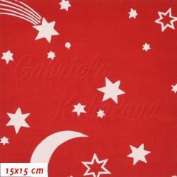 Látka, plátno - Hvězdičky, měsíc a kometa bílé na červené, šíře 150 cm, 10 cm