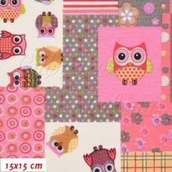 Režné plátno - Patchwork růžový se sovičkami, šíře 140 cm, 10 cm