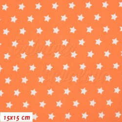 Látka plátno - Hvězdičky 9 mm bílé na oranžové, šíře 140 cm, 10 cm