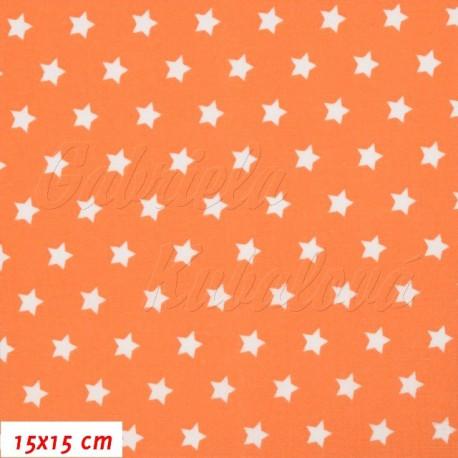 Plátno, Hvězdičky 9mm bílé na oranžové, 15x15cm
