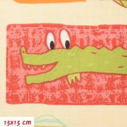 Plátno, Zvířátka SAVANA červená hnědá zelená, 15x15cm