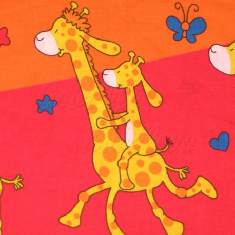Detské látky, bavlna - Žirafky na oranžové barvě