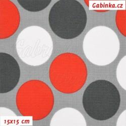 Kočárkovina MAT, Velké puntíky červené, bílé a tm. šedé na sv. šedé, šíře 160 cm, 10 cm, Atest 1
