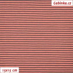 Úplet s EL - Proužky 2 mm oranžové a šedé, šíře 145 cm, 10 cm