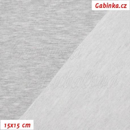 Teplákovina s EL, světle šedý melír, 15x15cm