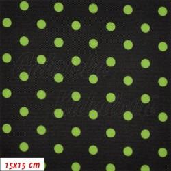 Kočárkovina LESK, Zelené puntíky na černé, šíře 160 cm, 10 cm