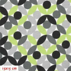 Kočárkovina, Lístečky zelené šedé černé a bílé, MAT, šíře 160 cm, 10 cm
