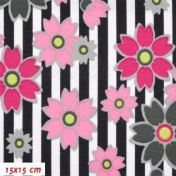 Kočárkovina MAT, Květy na proužcích růžové a fialové, šíře 160 cm, 10 cm, Atest 1