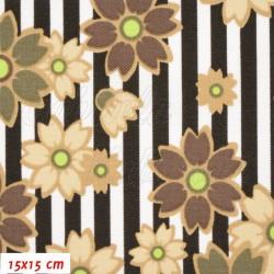 Kočárkovina MAT, Květy na proužcích hnědé, šíře 160 cm, 10 cm, Atest 1