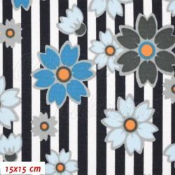Kočárkovina MAT, Květy na proužcích modré a šedé, šíře 160 cm, 10 cm, Atest 1