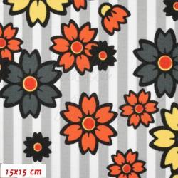 Kočárkovina MAT, Květy na proužcích oranžové a šedé, šíře 160 cm, 10 cm, Atest 1