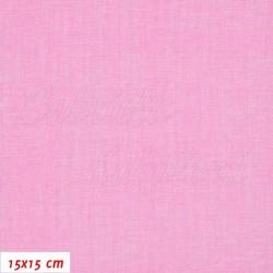 Plátno, Režný potisk růžový, 15x15cm