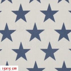 Plátno, Hvězdy 43 mm modré na šedé přírodní, 15x15 cm
