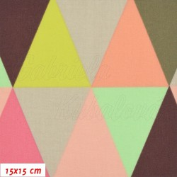 Plátno - Trojúhelníky 8cm žluté oranžové šedé zelené a hnědé, šíře 150 cm, 10 cm