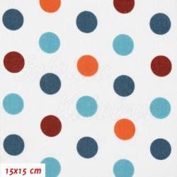 Plátno - Puntíky 19 mm modré oranžové a vínové na bílé, šíře 160 cm