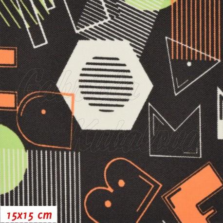 Kočárkovina, Písmena a tvary na hnědé, 15x15cm