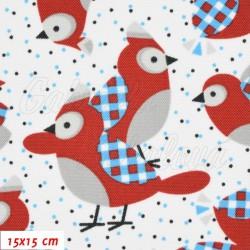 Kočárkovina MAT, Sýkorky parukářky červené s modrými křidélky na bílé, šíře 160 cm, 10 cm, Atest 1