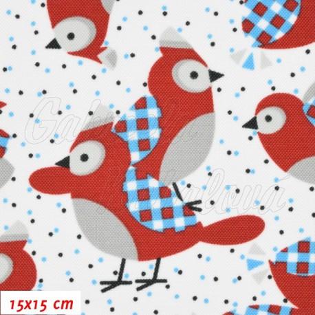 Kočárkovina, Sýkorky parukářky červené s modrými křidélky na bílé, 15x15cm