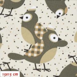 Kočárkovina MAT, Sýkorky parukářky khaki se sv. hnědými křidélky na smetanové, šíře 160 cm, 10 cm, Atest 1