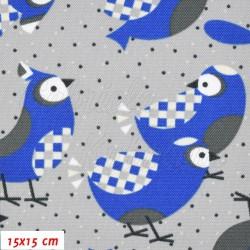 Kočárkovina MAT, Sýkorky parukářky modré s bílými křidélky na sv. šedé, šíře 160 cm, 10 cm, Atest 1