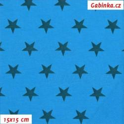 Teplákovina s EL, Hvězdičky na modré, 15x15cm