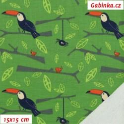 Teplákovina s EL 92/8 - Tukani na zelené, šíře 140 cm, 10 cm