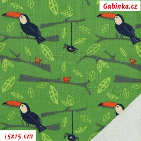 Teplákovina s EL, Tukani na zelené, 15x15cm