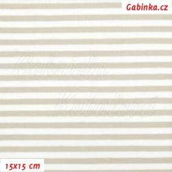 Úplet s EL, Proužky béžové a bílé, 15x15cm