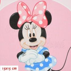 Plátno, Disney Minnie na růžové s kabelkami, 15x15cm