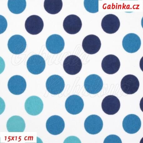 Kočárkovina Premium, Puntíky přecházející modré, 15x15cm