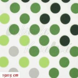 Kočárkovina Premium, Puntíky přecházející zelené, 15x15cm