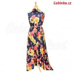 Viskóza s EL, Velké květy růžové a žluté na modré, šaty