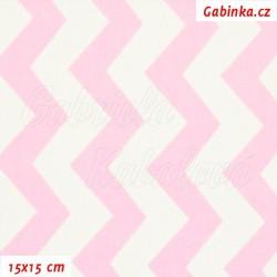 Látka, plátno - Cik-cak růžová a bílá, šíře 160 cm, 10 cm