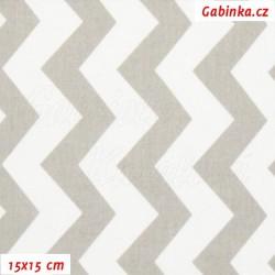 Plátno - Cik-cak šedá a bílá, šíře 160 cm, 10 cm