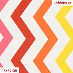 Plátno - Cik-cak červený, žlutý a bílý, šíře 160 cm, 2. jakost, 10 cm