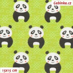 Plátno, Pandy na zelené, 15x15cm