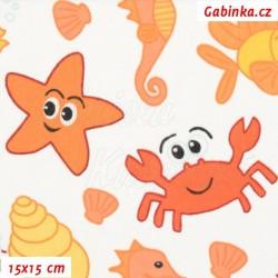 Plátno, Oranžové mořské potvůrky na bílé, 15x15cm