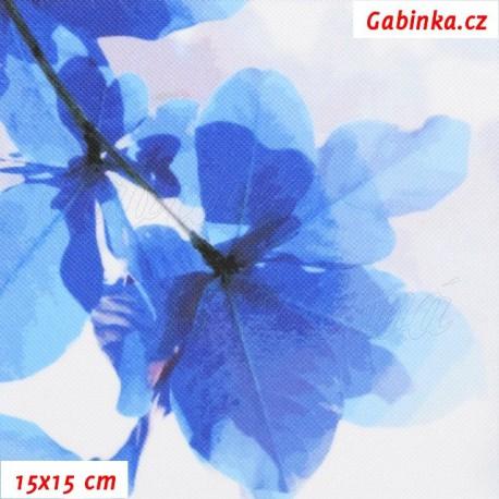 Kočárkovina Premium, Sakura modrá na šedobílé, 15x15cm