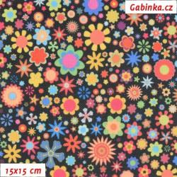 Kočárkovina Premium, Pestrobarevné kytičky na černé, šíře 160 cm, 10 cm
