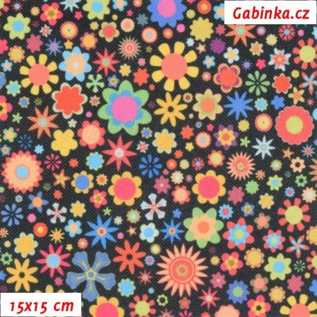 Kočárkovina Premium, Pestrobarevné kytičky na černé, 15x15cm