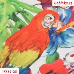 E - Kočárkovina Premium, Pestrobarevní papoušci s květinami, šíře 160 cm, 10 cm