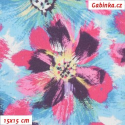 Kočárkovina Premium, Velké růžové a sv. modré květy, šíře 160 cm, 10 cm