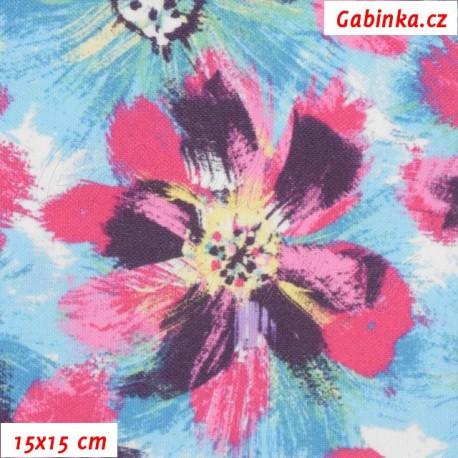 Kočárkovina Premium, Velké růžové a světle modré květy, 15x15cm