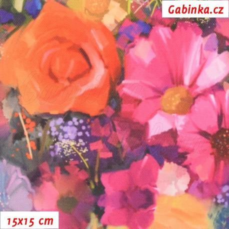 Kočárkovina Premium, Růže a květiny, 15x15cm
