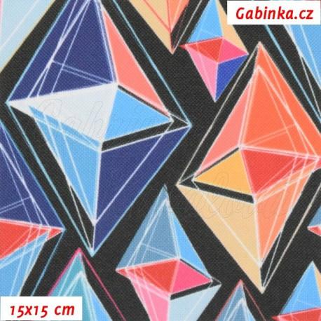 Kočárkovina Premium, Diamanty modré a oranžové na černé, 15x15cm
