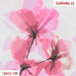 Kočárkovina Premium, Sakura růžová na šedobílé, šíře 160 cm, 10 cm