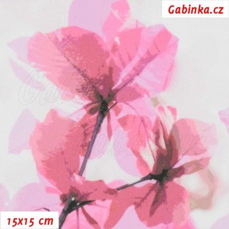 Kočárkovina Premium, Sakura růžová na šedobílébílé, 15x15cm